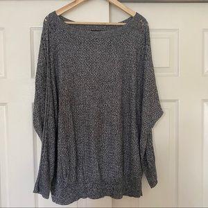 Lane Bryant Marled Black Gray Woven Sweater 22/24